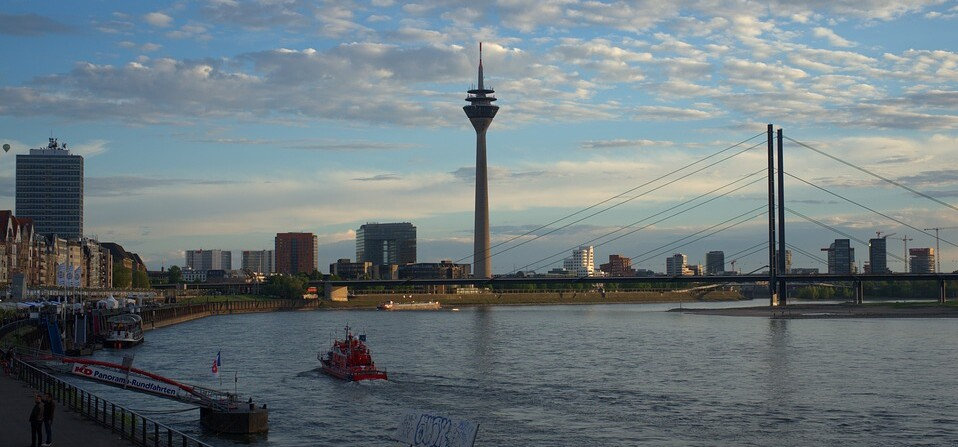 Television tower Düsseldorf on the Rhine