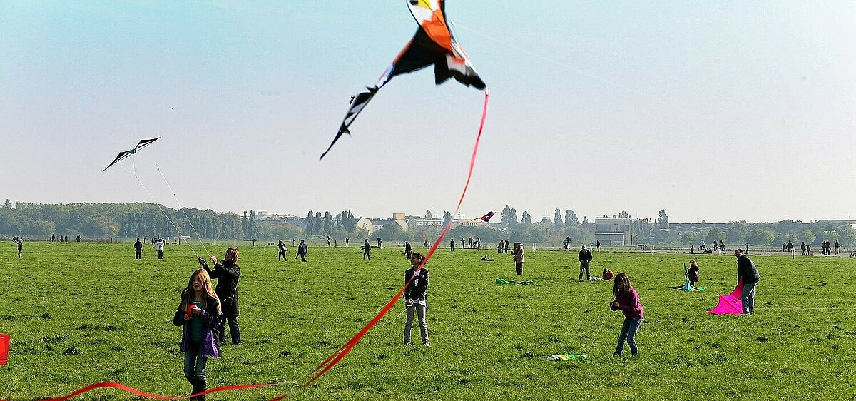 Flying kites at Tempelhofer Feld