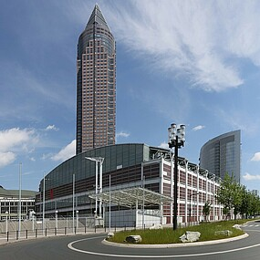skyscraper and exhibition buildings at Messe Frankfurt