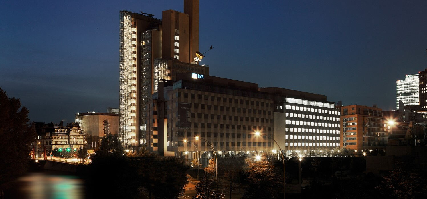 Pfizer headquarter Germany, Berlin by night