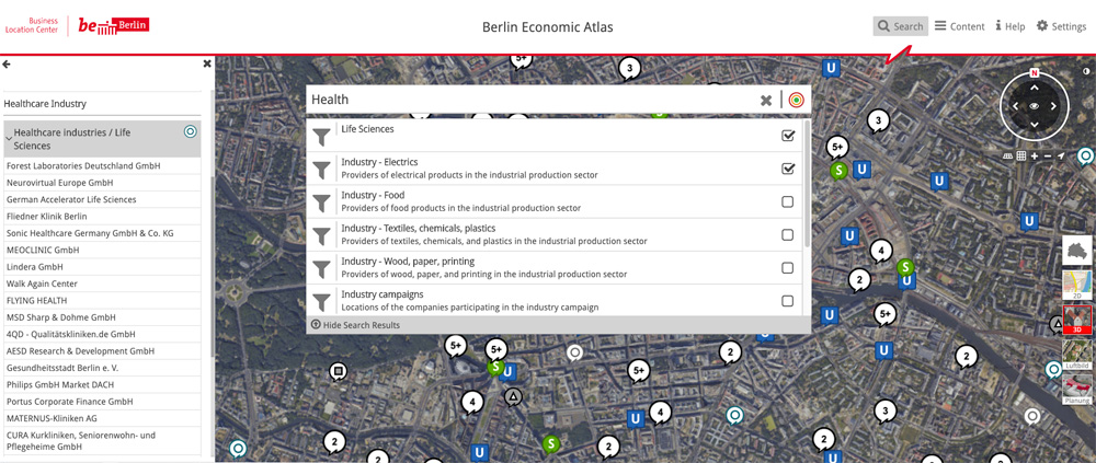 2D map view economic atlas berlin, business location finder