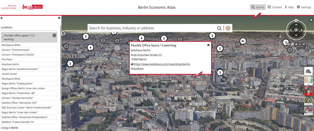 3D map view economic atlas berlin, business location finder